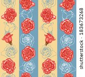 seamless pattern with roses and ... | Shutterstock .eps vector #183673268