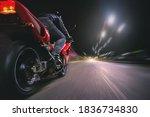 Motorbiker Is Driving A Bike On ...