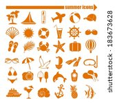 summer icons set | Shutterstock .eps vector #183673628