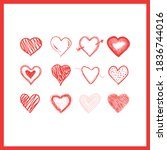 doodle hearts  hand drawn love... | Shutterstock .eps vector #1836744016