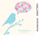 illustration with cute bird | Shutterstock .eps vector #183677894