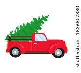 christmas car. red pickup truck ...   Shutterstock .eps vector #1836807880