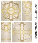 set of wedding invitations.... | Shutterstock .eps vector #183681020