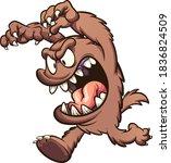 brown cartoon monster running... | Shutterstock .eps vector #1836824509