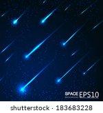 vector meteor shower  | Shutterstock .eps vector #183683228