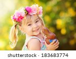 Cute Easter Girl With Chocolat...