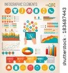 big set of shopping... | Shutterstock .eps vector #183687443