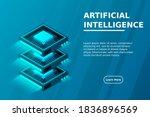 quantum computer  large data...   Shutterstock .eps vector #1836896569