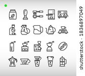 Coffee Icon Set In Outline...
