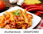penne pasta with chili sauce... | Shutterstock . vector #183692483