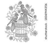 birds with cage. zentangle... | Shutterstock .eps vector #1836944356