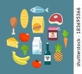 online supermarket foods flat... | Shutterstock .eps vector #183695366