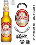 beer label and neck label on... | Shutterstock .eps vector #183696056