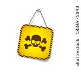 yellow grunge warning sign with ... | Shutterstock .eps vector #1836975343