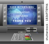 realistic atm machine with cash ... | Shutterstock .eps vector #1836978946