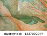Geological Map Old Paper As...