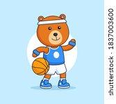 cool chubby bear play... | Shutterstock .eps vector #1837003600