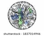 floral zentangl round  ...   Shutterstock . vector #1837014946