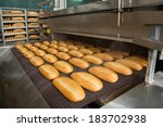 Fresh Hot Baked Bread Loafs On...