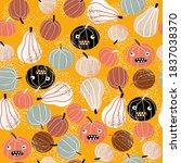 halloween seamless pattern with ... | Shutterstock .eps vector #1837038370