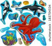 cartoon elements of coral reef... | Shutterstock . vector #183704534