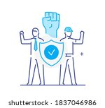 trade union  worker protests....   Shutterstock .eps vector #1837046986