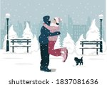 a married couple embraces in a... | Shutterstock .eps vector #1837081636