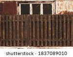 Old Wooden Fence And Abandoned...
