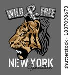 wild   free with tiger face in... | Shutterstock .eps vector #1837098673