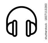 headphones outline icon. black... | Shutterstock .eps vector #1837113283