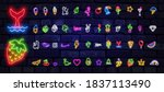 neon patch badges with lips ... | Shutterstock .eps vector #1837113490
