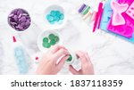 melting color chocolate chips... | Shutterstock . vector #1837118359