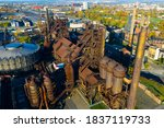 Aerial view of abandoned Vitkovice steel mill in Ostrava, Moravian-Silesian Region, Czech Republic. Industrial background