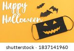 happy halloween text on evil... | Shutterstock . vector #1837141960