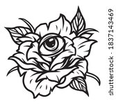 rose with all seeing eye tattoo ... | Shutterstock .eps vector #1837143469