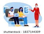 stewardess  man  woman in... | Shutterstock .eps vector #1837144309