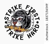 tiger with lightning... | Shutterstock .eps vector #1837156549