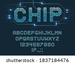 chip type font  vector alphabet ... | Shutterstock .eps vector #1837184476