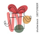 christmas gift in a hand drawn... | Shutterstock .eps vector #1837198309