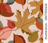 autumn leaves seamless pattern. ... | Shutterstock .eps vector #1837202626