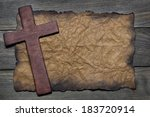 cross cut out of wood on the... | Shutterstock . vector #183720914