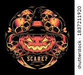 scary halloween art vector... | Shutterstock .eps vector #1837211920