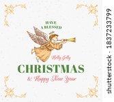merry christmas abstract vector ... | Shutterstock .eps vector #1837233799