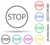 sign stop multi color style...