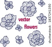 abstract flower and leaf vector ... | Shutterstock .eps vector #1837241350