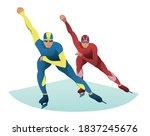 men competing on short track.... | Shutterstock .eps vector #1837245676