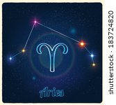 vector constellation aries with ... | Shutterstock .eps vector #183724820