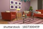 interior of the living room. 3d ... | Shutterstock . vector #1837300459