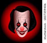 scary face joker clown... | Shutterstock .eps vector #1837359406