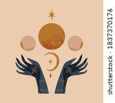 hand drawn boho hands and moon...   Shutterstock .eps vector #1837370176